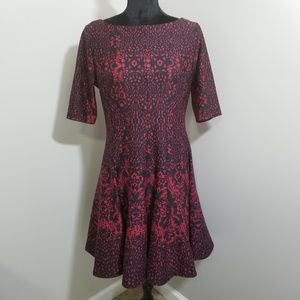 Julian Taylor 1/2 Sleeve Fit Flare Dress SZ 8